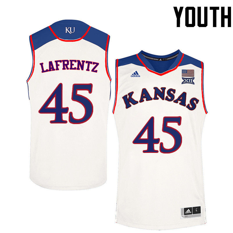 Youth Kansas Jayhawks #45 Raef LaFrentz College Basketball Jerseys-White