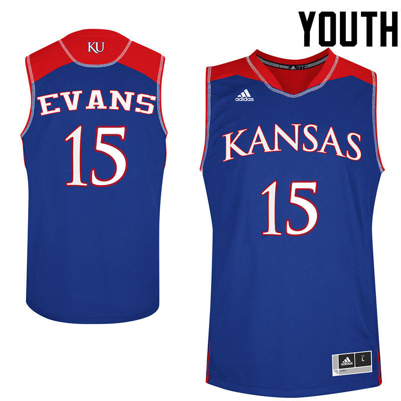 Youth Kansas Jayhawks #15 Ray Evans College Basketball Jerseys-Royals