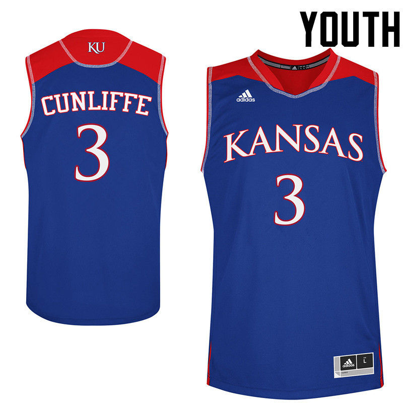 Youth Kansas Jayhawks #3 Sam Cunliffe College Basketball Jerseys-Royals