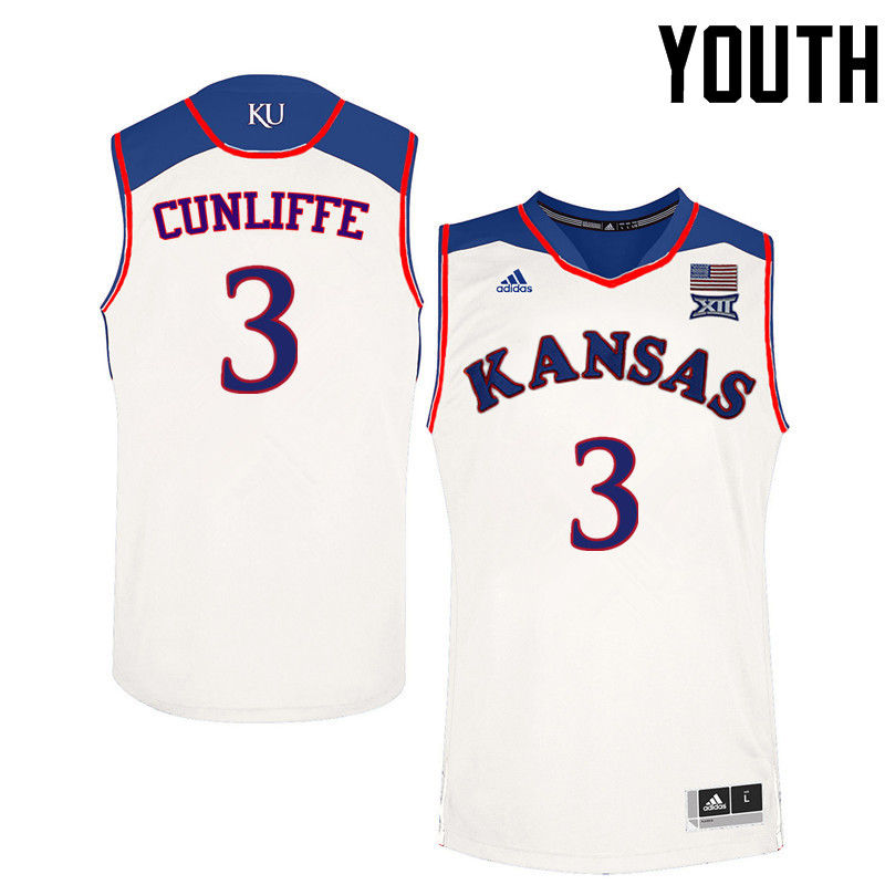 Youth Kansas Jayhawks #3 Sam Cunliffe College Basketball Jerseys-White