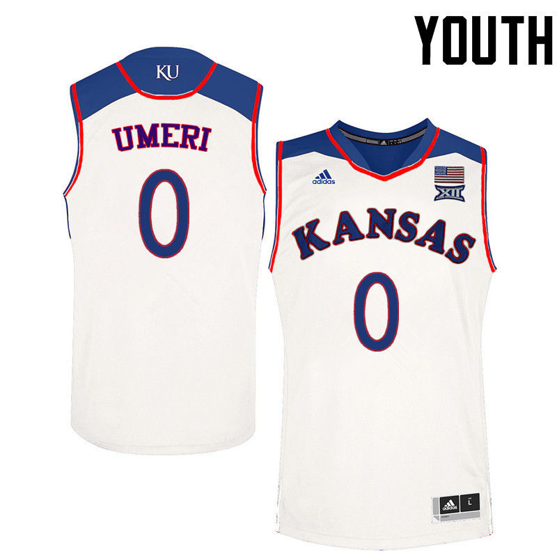 Youth Kansas Jayhawks #0 Sydney Umeri College Basketball Jerseys-White