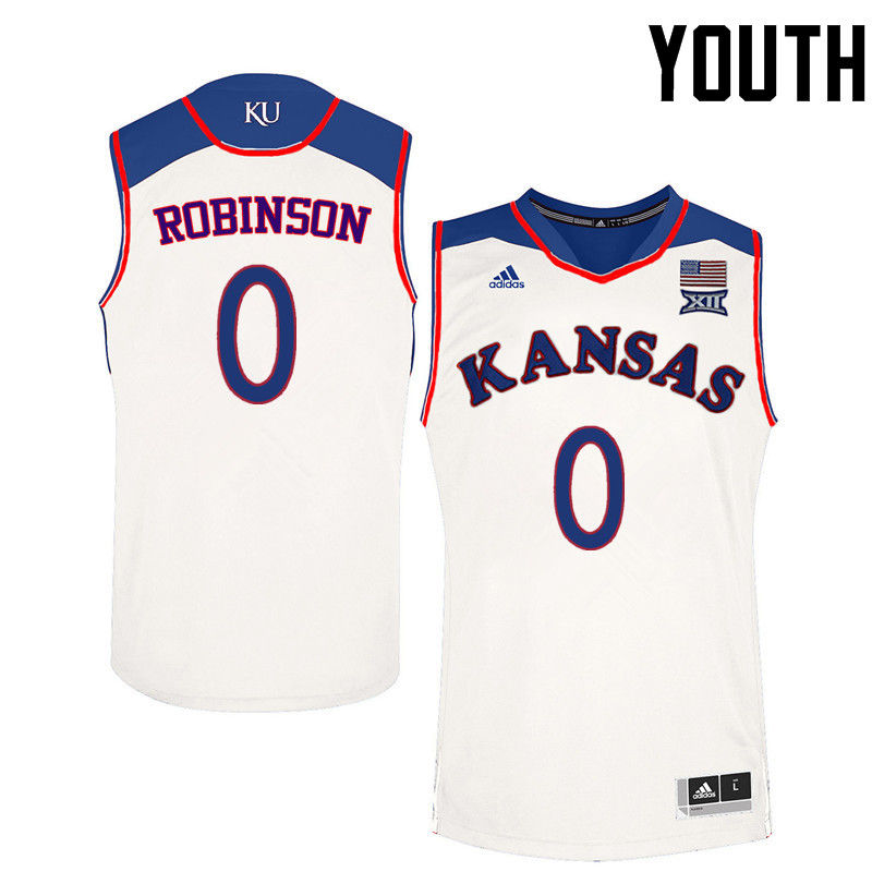 Youth Kansas Jayhawks #0 Thomas Robinson College Basketball Jerseys-White