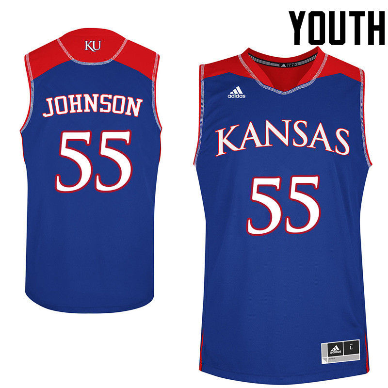 Youth Kansas Jayhawks #55 Tyler Johnson College Basketball Jerseys-Royals