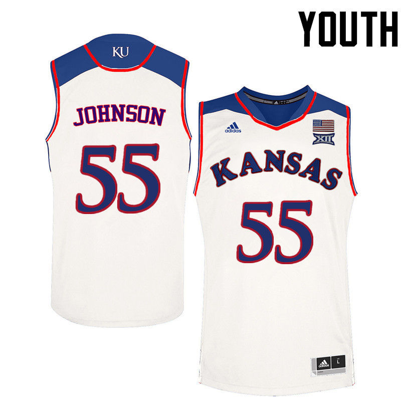 Youth Kansas Jayhawks #55 Tyler Johnson College Basketball Jerseys-White