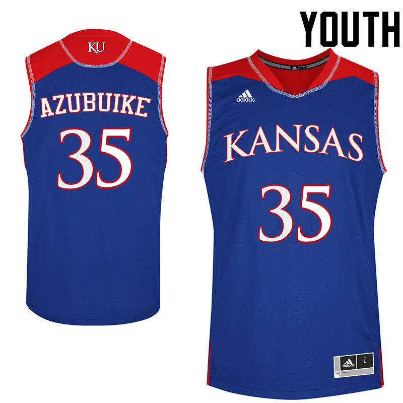 Youth Kansas Jayhawks #35 Udoka Azubuike College Basketball Jerseys-Royals