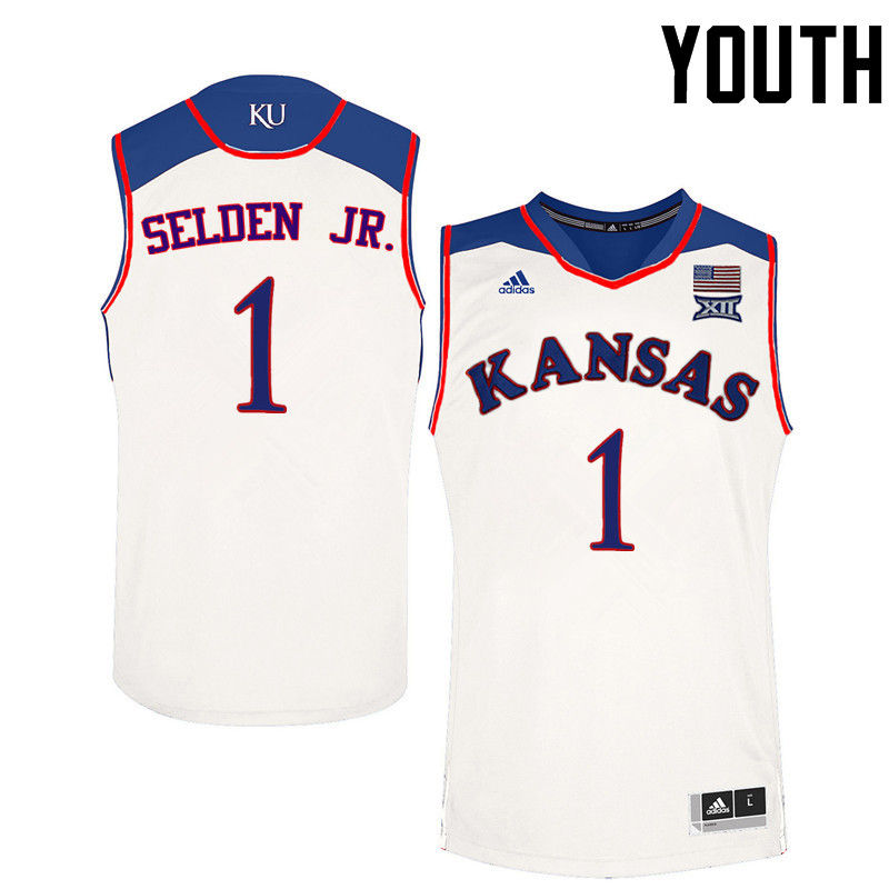 Youth Kansas Jayhawks #1 Wayne Selden Jr. College Basketball Jerseys-White
